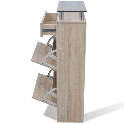 vidaXL Skohylla i trä med låda och glashylla ekimitation