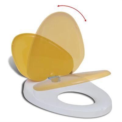 vidaXL Toalettsits för barn/vuxna med mjuk stängning gul & vit