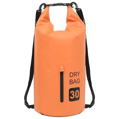 vidaXL Vattentät packpåse med dragkedja orange 30 L PVC