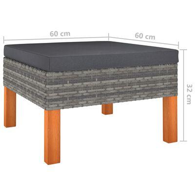 vidaXL Loungegrupp för trädgården 9 delar med dynor konstrotting grå