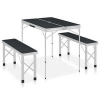 vidaXL Hopfällbart campingbord med 2 bänkar aluminium grå