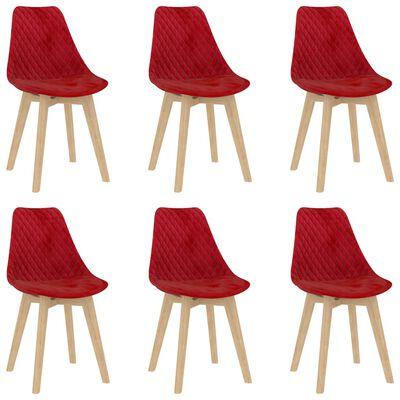 vidaXL Matstolar 6 st röd sammet