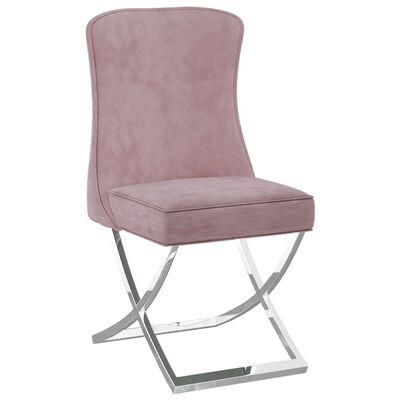 vidaXL Matstol rosa 53x52x98 cm sammet & rostfritt stål