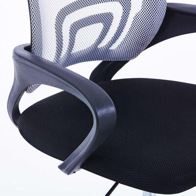 vidaXL Kontorsstol med ryggstöd i nät grå tyg