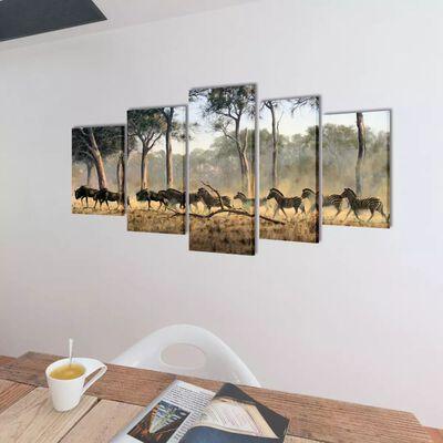 Uppsättning väggbonader på duk: zebror 100 x 50 cm