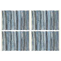 vidaXL Bordstabletter 4 st chindi denim blå 30x45 cm bomull
