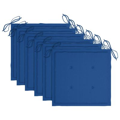 vidaXL Trädgårdsstolar med kungsblåa dynor 6 st massivt teakträ