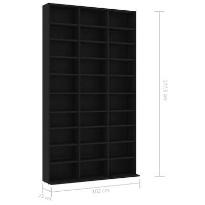 vidaXL CD-hylla svart 102x23x177,5 cm spånskiva