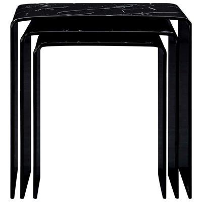 vidaXL Satsbord 3 st svart marmoreffekt 42x42x41,5 cm härdat glas