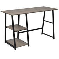 vidaXL Skrivbord med 2 hyllor grå/ek