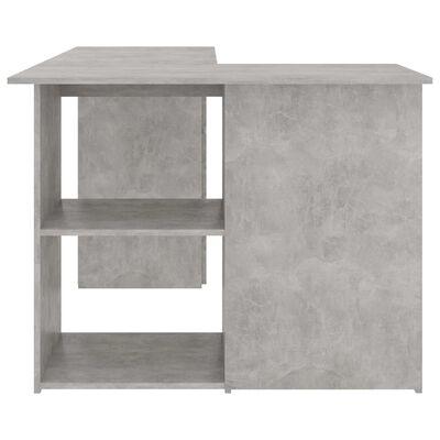 vidaXL Hörnskrivbord betonggrå 145x100x76 cm spånskiva