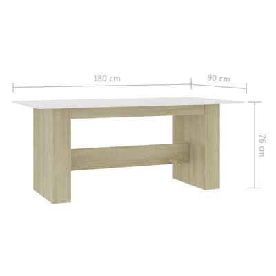 vidaXL Matbord vit och sonoma-ek 180x90x76 cm spånskiva