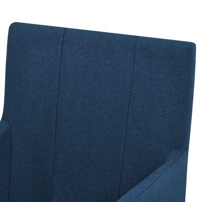 vidaXL Matstolar med armstöd 6 st blå tyg