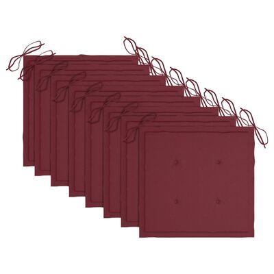 vidaXL Matstolar med vinröda dynor 8 st massiv teak