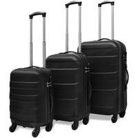 vidaXL Hårda resväskor på hjul 3 st svart