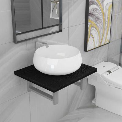 vidaXL Badrumsmöbler 2 delar keramik svart