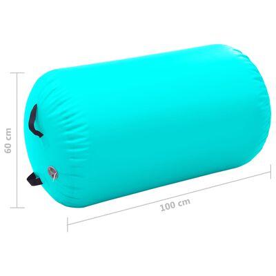 vidaXL Uppblåsbar gymnastikrulle med pump 100x60 cm PVC grön