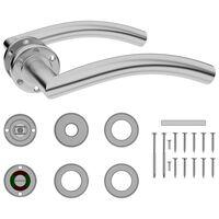 vidaXL Dörrhandtag med WC-lås välvt rostfritt stål