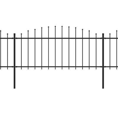 vidaXL Trädgårdsstaket med spjuttopp stål (0,5-0,75)x10,2 m svart