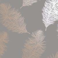 DUTCH WALLCOVERINGS Tapet Fawning Feather grå och roséguld