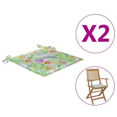 vidaXL Sittdynor för trädgården 2 st bladmönster 40x40x4 cm tyg