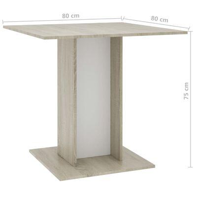 vidaXL Matbord vit och sonoma-ek 80x80x75 cm spånskiva