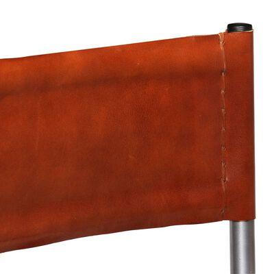 vidaXL Matstolar 2 st brun äkta läder
