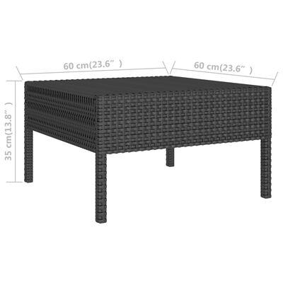 vidaXL Loungegrupp för trädgården med dynor 3 delar konstrotting svart, Svart och vit