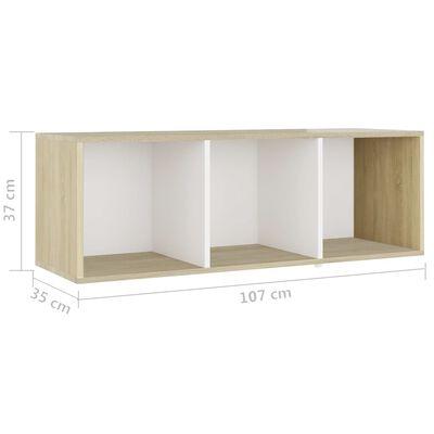 vidaXL TV-skåp 2 st vit och sonoma-ek 107x35x37 cm spånskiva