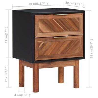 vidaXL Sängbord 2 st 40x30x53 cm massivt akaciaträ och MDF