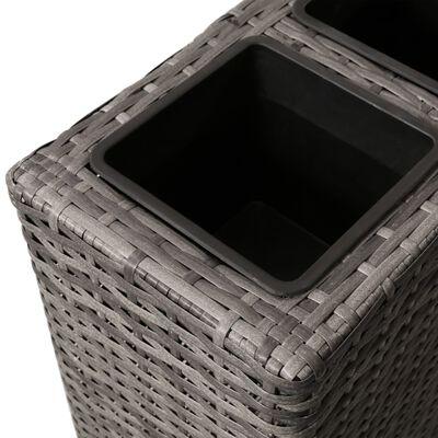 vidaXL Odlingslåda upphöjd med 4 krukor 2 st konstrotting grå