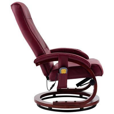 vidaXL Massagefåtölj med fotpall vinröd konstläder