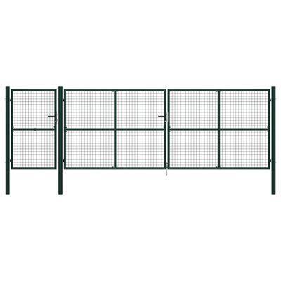 vidaXL Trädgårdsgrind stål 500x150 cm grön