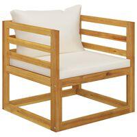 vidaXL Trädgårdsstol med gräddvita dynor massivt akaciaträ
