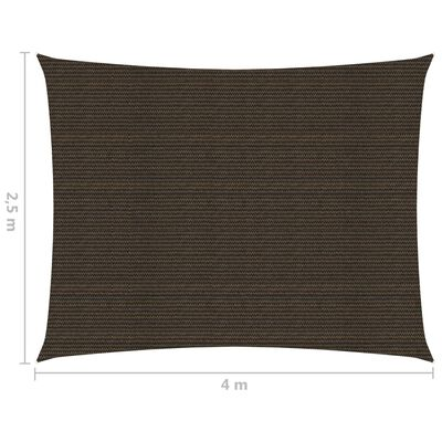 vidaXL Solsegel 160 g/m² brun 2,5x4 m HDPE