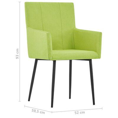 vidaXL Matstolar med armstöd 2 st grön tyg
