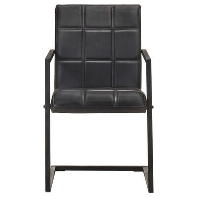 vidaXL Fribärande matstolar 4 st svart äkta läder