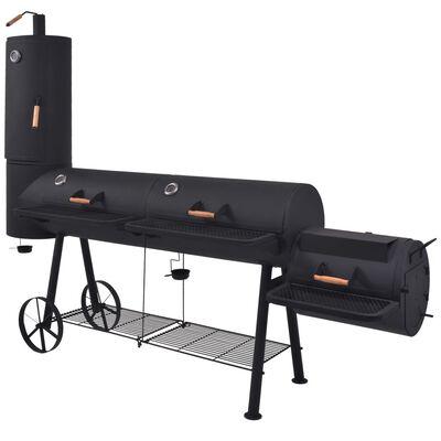 vidaXL Rökgrill BBQ med nedre hylla svart tung XXXL,