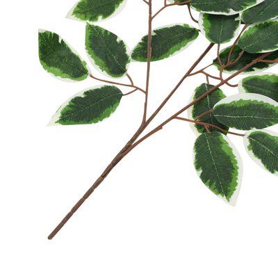 kvidaXL Konstgjorda blad fikus 10 st grön och vit 65 cm