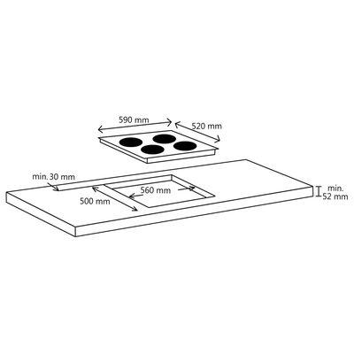 vidaXL Keramikhäll med 4 plattor touchkontroll 6600 W