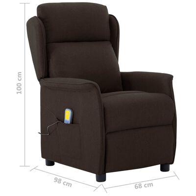 vidaXL Elektrisk massagefåtölj mörkbrun tyg