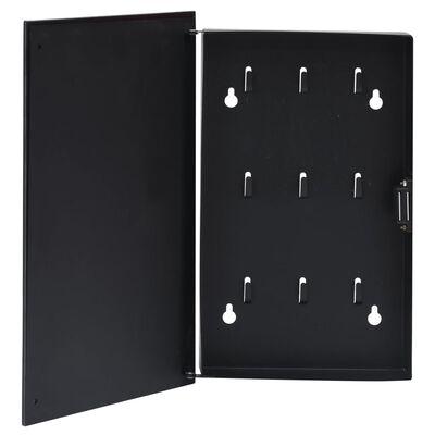 vidaXL Nyckelskåp med magnetisk tavla svart 30x20x5,5 cm