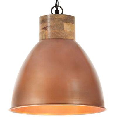 vidaXL Hänglampa industriell koppar järn & massivt trä 35 cm E27