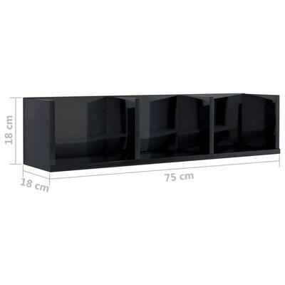 vidaXL CD-hylla svart högglans 75x18x18 cm spånskiva