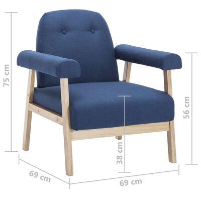 vidaXL Soffgrupp 6 personer 3 delar tyg blå