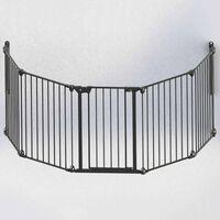 Noma Säkerhetsgrind med 5 paneler Modular metall svart 94238