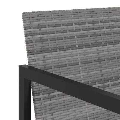 vidaXL Matgrupp för trädgården med dynor 5 delar konstrotting grå