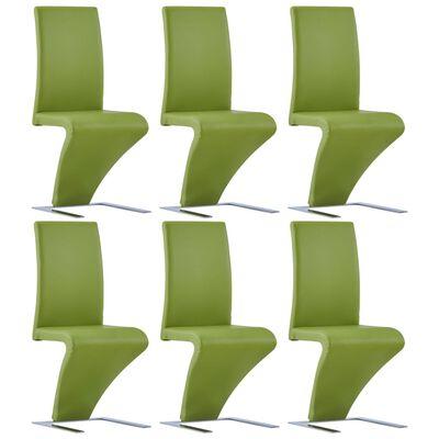 vidaXL Matstolar med sicksack-form 6 st grön konstläder