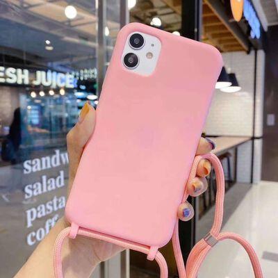 iPhone 12 Mini skal med halsband TPU Rosa