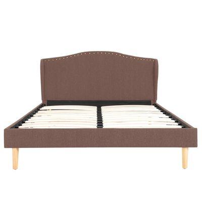 vidaXL Säng med madrass brun tyg 120x200 cm